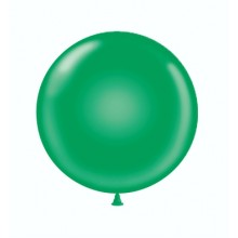"24"" Tuf-Tex Standard Green Decorator Balloons - 25-Pack"