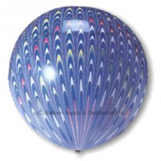 "18"" Blue Peacock Latex Balloons - Each - OUT OF STOCK - MORE IN SOON"