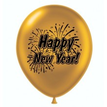"11"" Tuf-Tex Printed Happy New Years Metaltone Gold Decorator Balloons - 100-Pack"